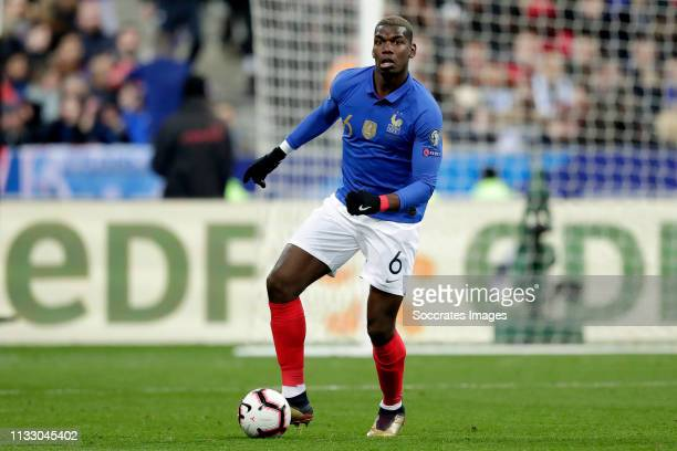 Paul Pogba of France during the EURO Qualifier match between France v Iceland at the Stade de France on March 25, 2019 in Paris France