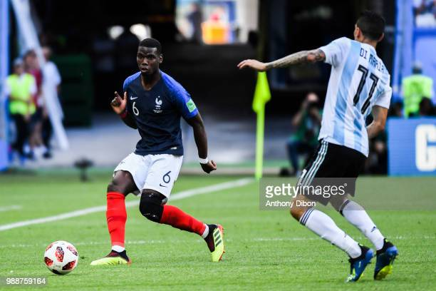 Paul Pogba of France during the FIFA World Cup Round of 16 match between France and Argentina at Kazan Arena on June 30 2018 in Kazan Russia