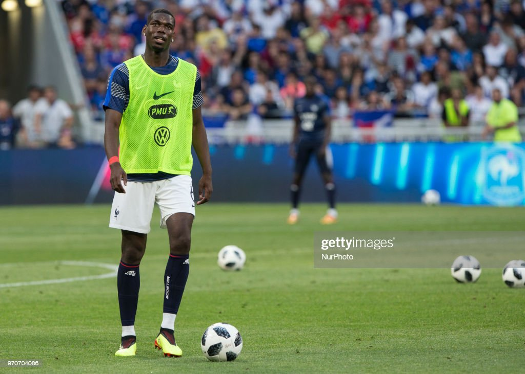 Paul Pogba of France during the friendly football match between France and USA at the at the Parc Olympique lyonnais stadium in Decines-Charpieu, near Lyon on June 9, 2018.