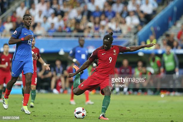 Paul Pogba of France Eder of Portugal goal 10 during the UEFA EURO 2016 final match between Portugal and France on July 10 2016 at the Stade de...