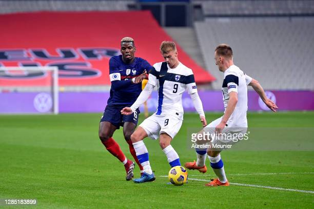 Paul Pogba of France fights for the ball during the international friendly match between France and Finland at Stade de France on November 11, 2020...