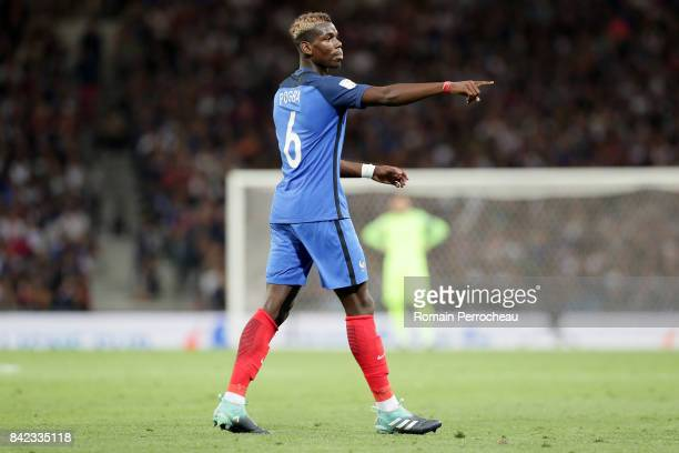 Paul Pogba of France gestures during the FIFA 2018 World Cup Qualifier between France and Luxembourg at Stadium on September 3 2017 in Toulouse France