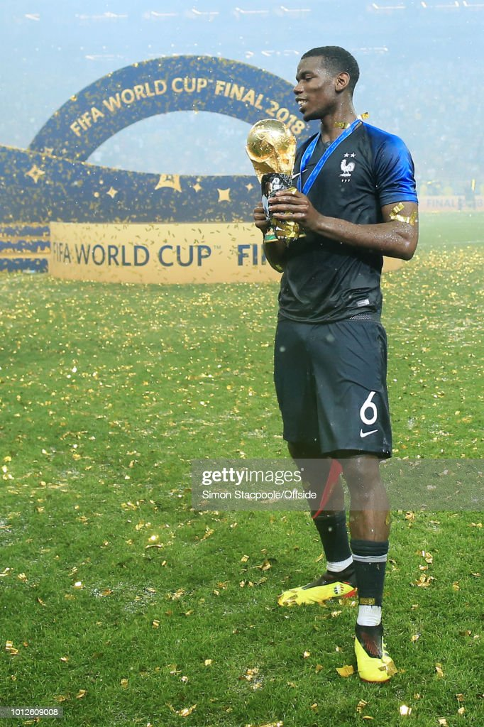 Paul Pogba of France holds the trophy after the 2018 FIFA World Cup Russia Final between France and Croatia at the Luzhniki Stadium on July 15, 2018 in Moscow, Russia.