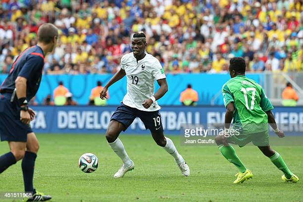 Paul Pogba of France in action during the 2014 FIFA World Cup Brazil Round of 16 match between France and Nigeria at Estadio Nacional on June 30 2014...