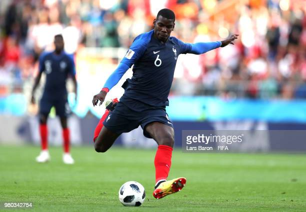 Paul Pogba of France in action during the 2018 FIFA World Cup Russia group C match between France and Peru at Ekaterinburg Arena on June 21 2018 in...