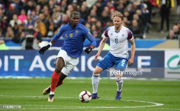 Paul Pogba of France in action during the 2020 UEFA European Championships Group H qualifying match between France and Iceland at Stade de France on...