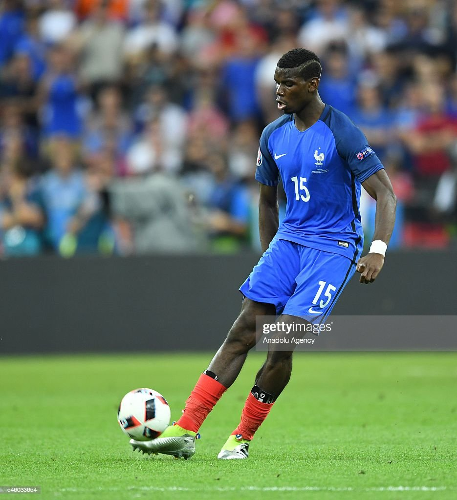 Paul Pogba of France in action during the Euro 2016 final match between Portugal and France at Stade de France in Paris, France on July 10, 2016.