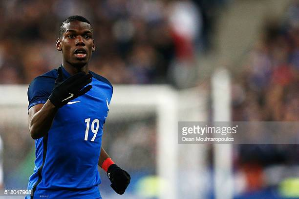 Paul Pogba of France in action during the International Friendly match between France and Russia held at Stade de France on March 29 2016 in Paris...