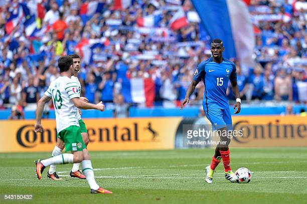 Paul Pogba of France in action during the UEFA Euro 2016 round of 16 match between France and the Republic of Ireland at Stade des Lumieres on June...