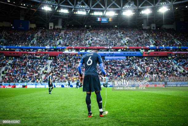 Paul Pogba of France is focused prior to the 2018 FIFA World Cup Russia Semi Final match between Belgium and France at Saint Petersburg Stadium on...