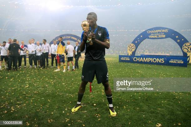 Paul Pogba of France kisses the trophy after the 2018 FIFA World Cup Russia Final between France and Croatia at the Luzhniki Stadium on July 15 2018...