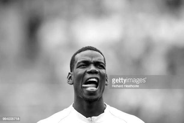 Paul Pogba of France looks on before the national anthems during the 2018 FIFA World Cup Russia Quarter Final match between Uruguay and France at...