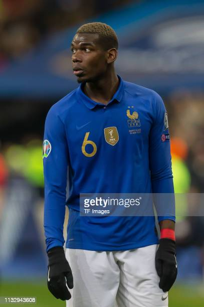 Paul Pogba of France looks on during the 2020 UEFA European Championships group H qualifying match between France and Iceland at Stade de France on...