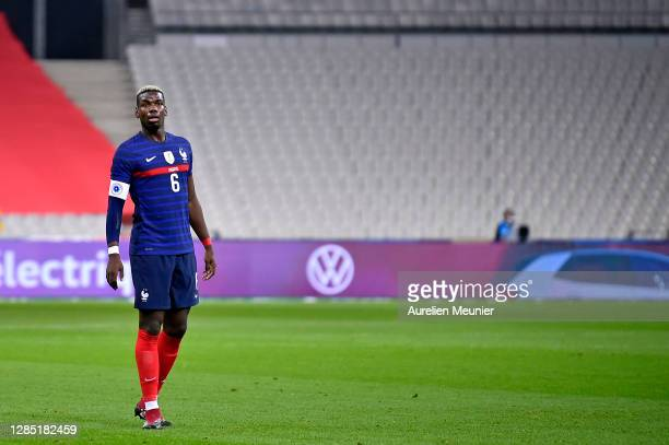 Paul Pogba of France looks on during the international friendly match between France and Finland at Stade de France on November 11, 2020 in Paris,...