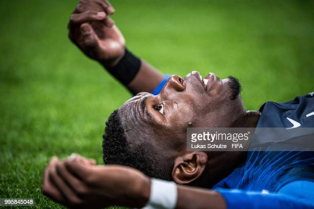 Paul Pogba of France looks up during the 2018 FIFA World Cup Russia Semi Final match between Belgium and France at Saint Petersburg Stadium on July...