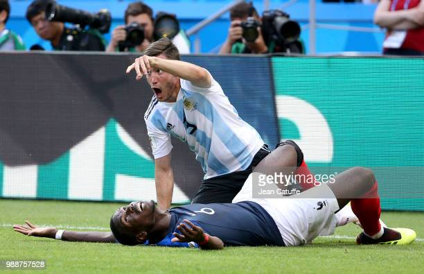 Paul Pogba of France Nicolas Tagliafico of Argentina during the 2018 FIFA World Cup Russia Round of 16 match between France and Argentina at Kazan...