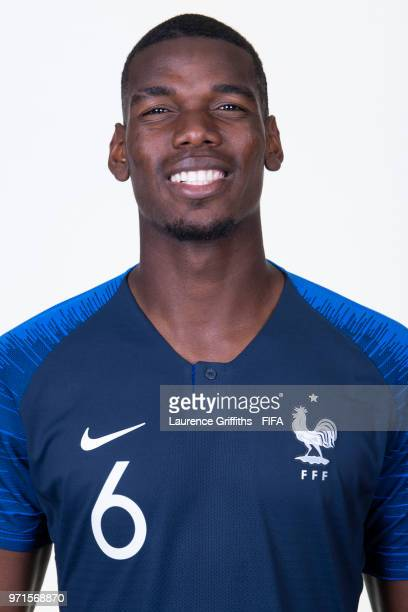 Paul Pogba of France poses for a portrait during the official FIFA World Cup 2018 portrait session at the Team Hotel on June 11 2018 in Moscow Russia