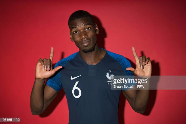Paul Pogba of France poses for a potrait at the team hotel during the official FIFA World Cup 2018 portrait session at on June 11 2018 in Moscow...