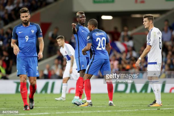 Paul Pogba of France reacts during the FIFA 2018 World Cup Qualifier between France and Luxembourg at on September 3 2017 in Toulouse France