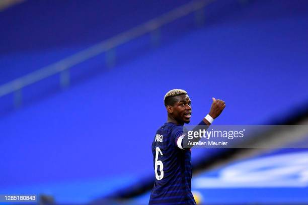 Paul Pogba of France reacts during the international friendly match between France and Finland at Stade de France on November 11, 2020 in Paris,...