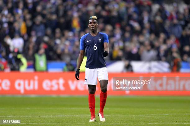 Paul Pogba of France reacts during the international friendly match between France and Colombia at Stade de France on March 23 2018 in Paris France