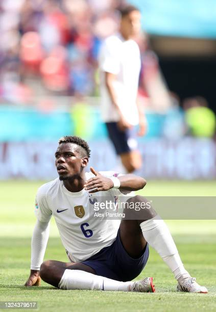 Paul Pogba of France reacts during the UEFA Euro 2020 Championship Group F match between Hungary and France at Puskas Arena on June 19, 2021 in...