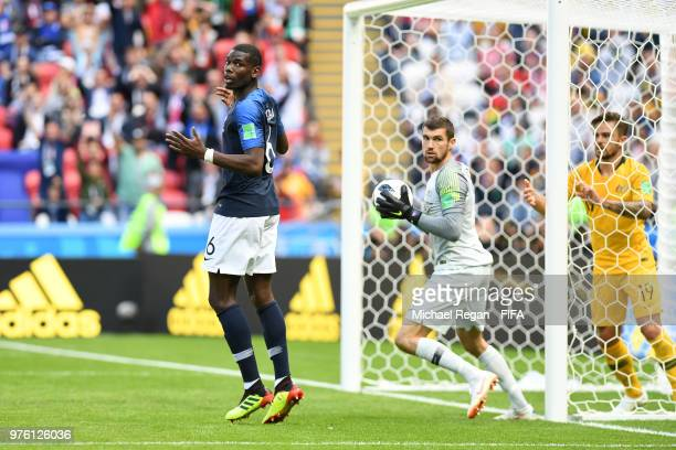 Paul Pogba of France reacts following scoring his side's second goal checking if the goal has been allowed during the 2018 FIFA World Cup Russia...