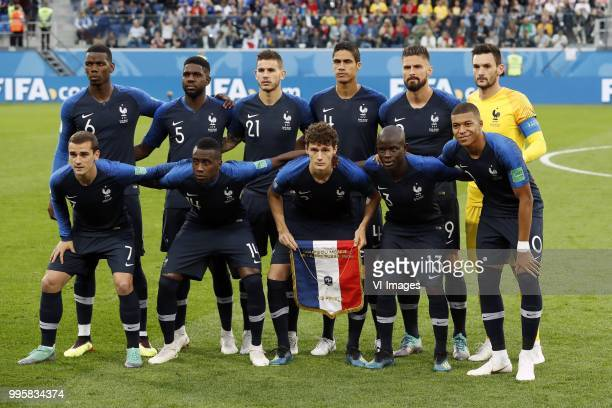 Paul Pogba of France Samuel Umtiti of France Lucas Hernandez of France Raphael Varane of France Olivier Giroud of France France goalkeeper Hugo...