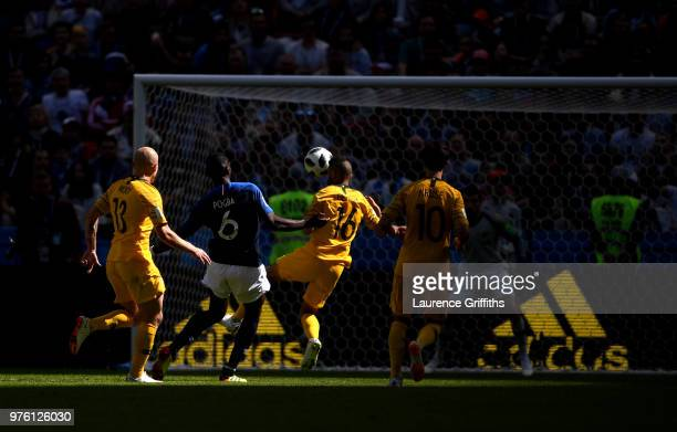 Paul Pogba of France scores his team's second goal during the 2018 FIFA World Cup Russia group C match between France and Australia at Kazan Arena on...