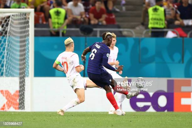 Paul Pogba of France scores their side's third goal during the UEFA Euro 2020 Championship Round of 16 match between France and Switzerland at...