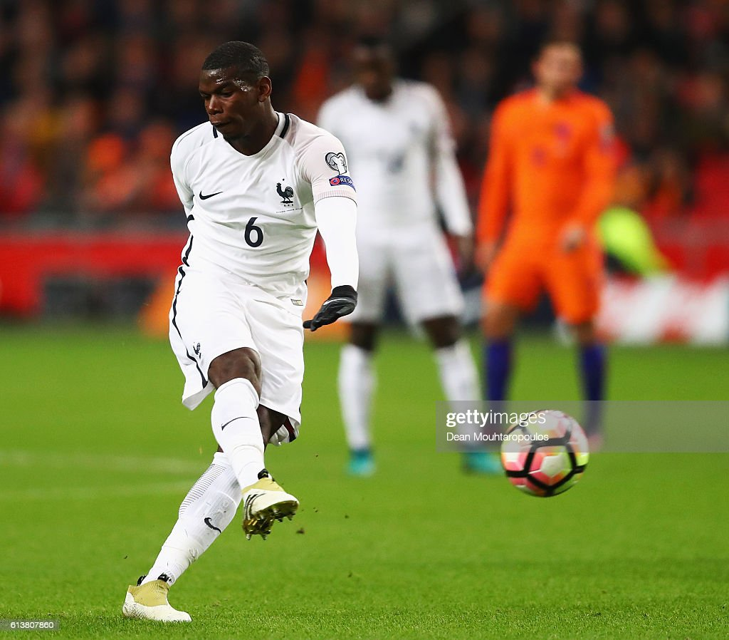 Paul Pogba of France shoots and scores a goal during the FIFA 2018 World Cup Qualifier between Netherlands and France held at Amsterdam Arena on October 10, 2016 in Amsterdam, Netherlands.