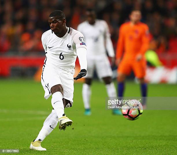 Paul Pogba of France shoots and scores a goal during the FIFA 2018 World Cup Qualifier between Netherlands and France held at Amsterdam Arena on...