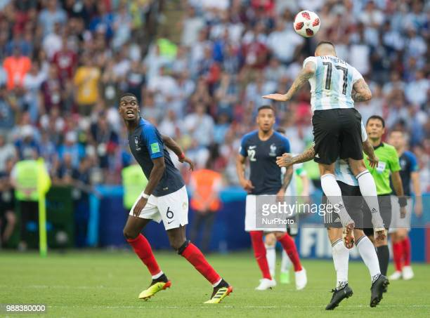Paul Pogba of France vies Nicolas Otamendi of Argentina during the 2018 FIFA World Cup Russia Round of 16 match between France and Argentina at Kazan...