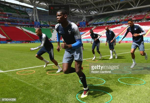 Paul Pogba of France warms up during the French team training session at Kazan Arena on June 15 2018 in Kazan Russia