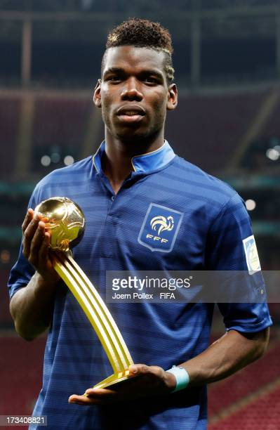 Paul Pogba of France wins the adidas Golden Ball award during the FIFA U20 World Cup Final match between France and Uruguay at Ali Sami Yen Arena on...