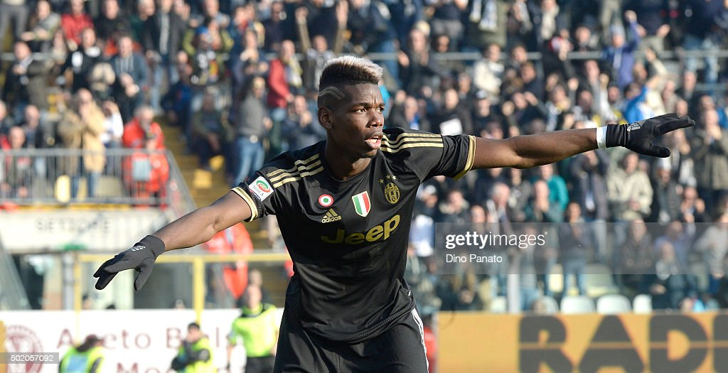 Paul Pogba of Juventus celebrates after scoring his team's third goal during the Serie A match between Carpi FC and Juventus FC at Alberto Braglia Stadium on December 20, 2015 in Modena, Italy.
