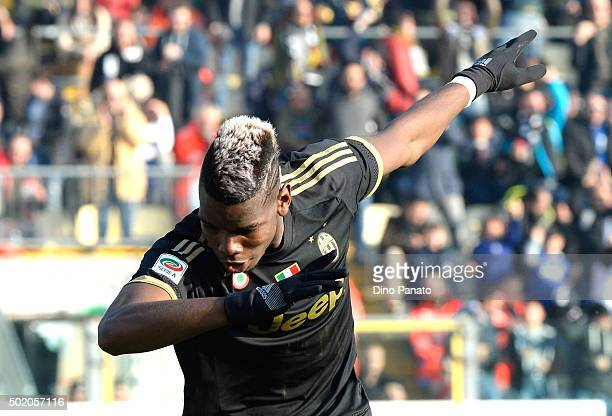 Paul Pogba of Juventus celebrates after scoring his team's third goal during the Serie A match between Carpi FC and Juventus FC at Alberto Braglia...
