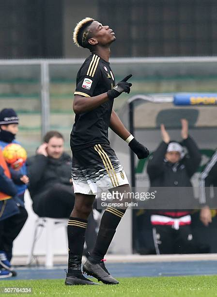 Paul Pogba of Juventus celebrates after scoring the goal 04 during Serie A match between AC Chievo Verona and Juventus FC at Stadio Marc'Antonio...