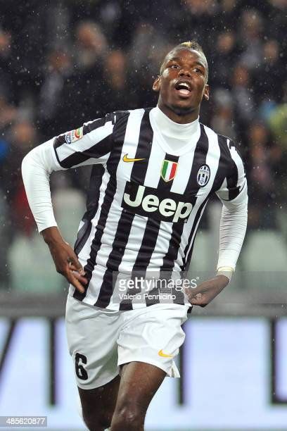 Paul Pogba of Juventus celebrates after scoring the opening goal during the Serie A match between Juventus and Bologna FC at Juventus Arena on April...