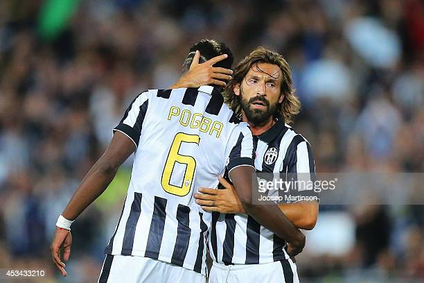 Paul Pogba of Juventus celebrates his goal with Andrea Pirlo of Juventus during the match between the ALeague All Stars and Juventus at ANZ Stadium...