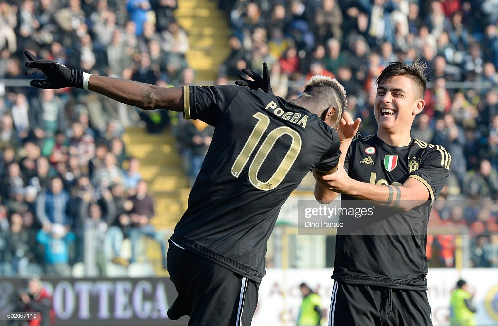 Paul Pogba of Juventus celebrates with his team's mate Paulo Dybala after scoring his team's third goal during the Serie A match between Carpi FC and Juventus FC at Alberto Braglia Stadium on December 20, 2015 in Modena, Italy.