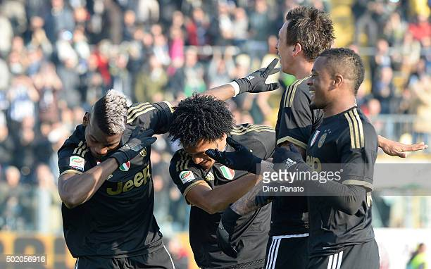 Paul Pogba of Juventus celebrates with their team mate's after scoring his team's third goal during the Serie A match between Carpi FC and Juventus...