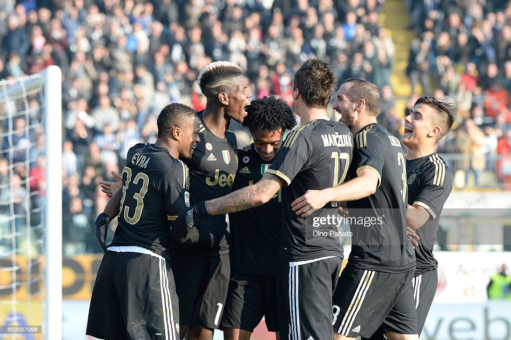 Paul Pogba of Juventus celebrates with their team mate's after scoring his team's third goal during the Serie A match between Carpi FC and Juventus FC at Alberto Braglia Stadium on December 20, 2015 in Modena, Italy.