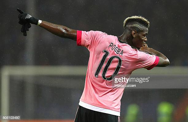 Paul Pogba of Juventus FC celebrates a victory at the end of the Serie A match between UC Sampdoria and Juventus FC at Stadio Luigi Ferraris on...