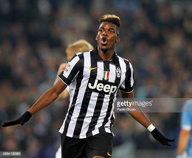 Paul Pogba of Juventus FC celebrates after scoring the opening goal during the Serie A match between SS Lazio and Juventus FC at Stadio Olimpico on...