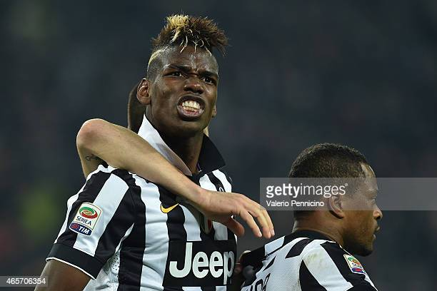 Paul Pogba of Juventus FC celebrates after scoring the opening goal during the Serie A match between Juventus FC and US Sassuolo Calcio at Juventus...