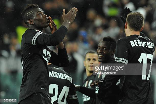 Paul Pogba of Juventus FC celebrates scoring their second goal during the Serie A match between Juventus FC and Bologna FC at Juventus Arena on...