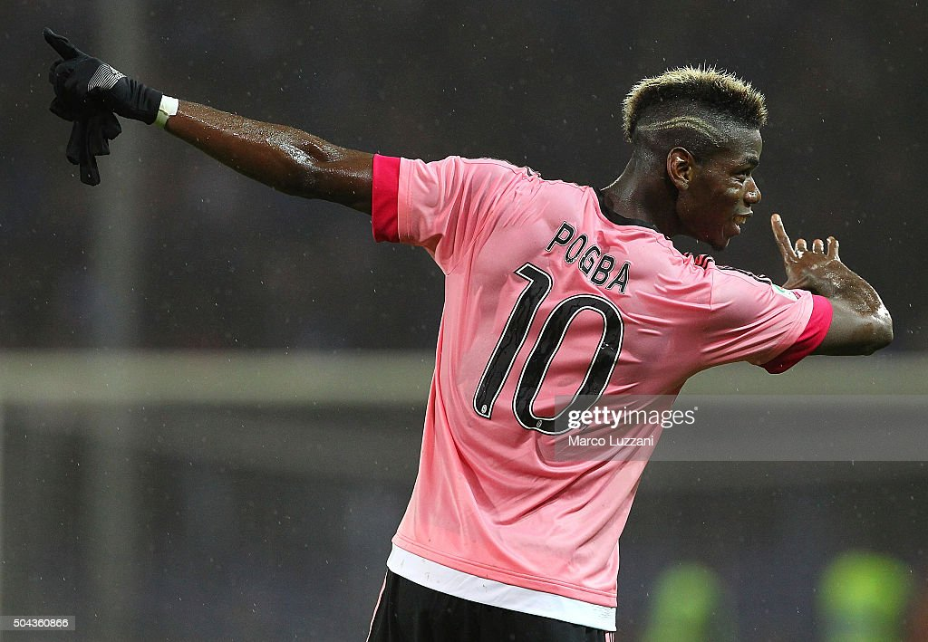 Paul Pogba of Juventus FC celebrates victory at the end of the Serie A match between UC Sampdoria and Juventus FC at Stadio Luigi Ferraris on January 10, 2016 in Genoa, Italy.