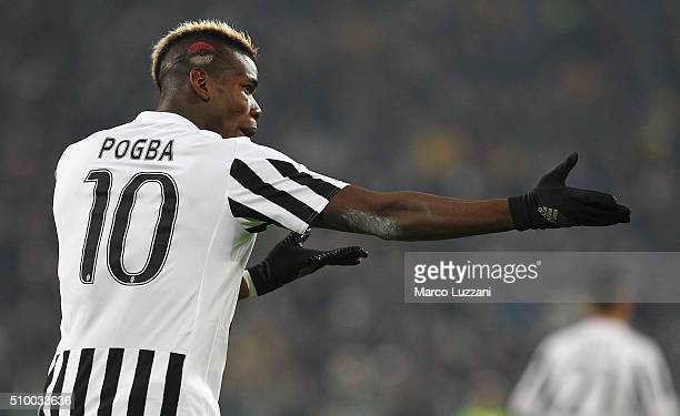 Paul Pogba of Juventus FC gestures during the Serie A match between and Juventus FC and SSC Napoli at Juventus Arena on February 13 2016 in Turin...