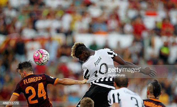 Paul Pogba of Juventus FC in action during the Serie A match between AS Roma and Juventus FC at Stadio Olimpico on August 30 2015 in Rome Italy